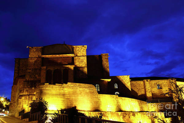 Photograph - Coricancha And Santo Domingo Church At Twilight Cusco Peru by James Brunker
