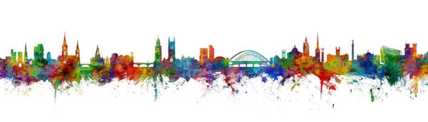 Wall Art - Digital Art - Cork And Newcastle Skylines Mashup by Michael Tompsett