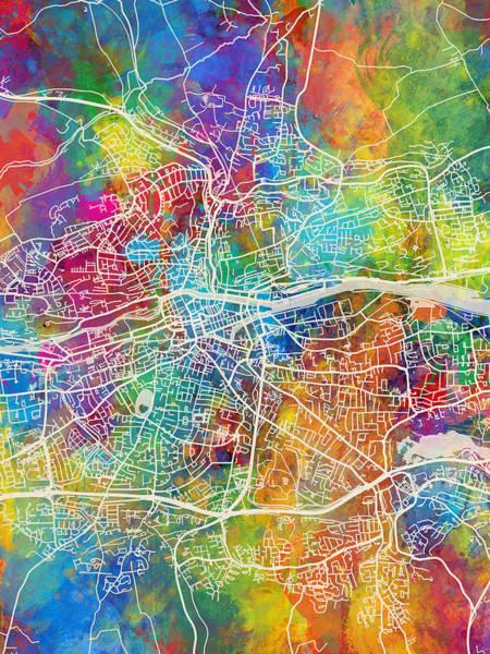 Digital Art - Cork Ireland City Map by Michael Tompsett
