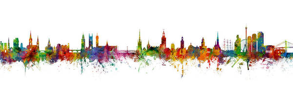 Wall Art - Digital Art - Cork, Stockholm And Gothenburg Skyline Mashup by Michael Tompsett