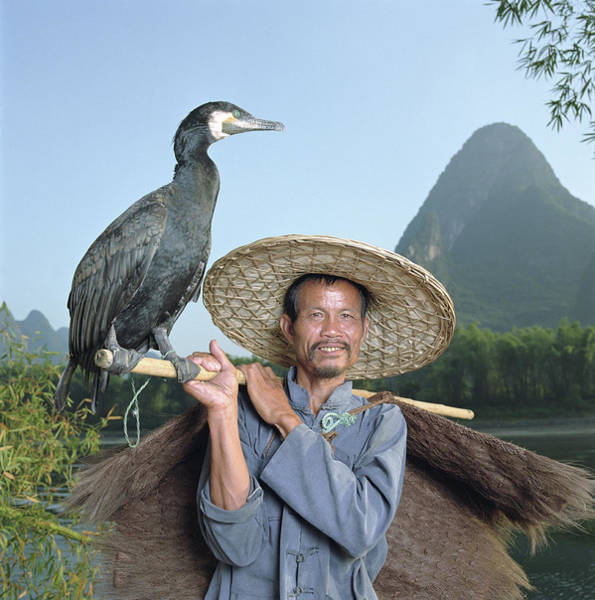 Chinese Clothing Wall Art - Photograph - Cormorant Fisherman Portrait by Martin Puddy