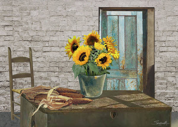 Wall Art - Digital Art - Corn Cobs And Sunflowers by M Spadecaller