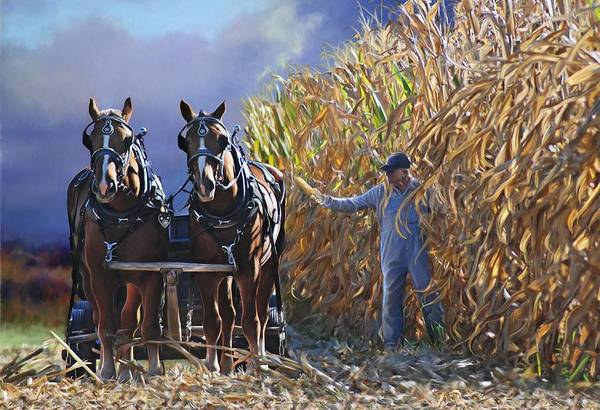Mixed Media - Corn Huskers by Bethany Caskey