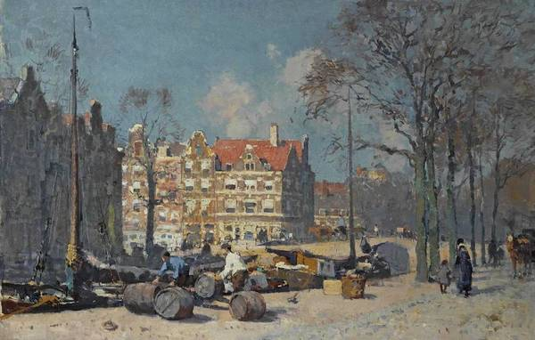 Wall Art - Painting - Cornelis Vreedenburgh 1880 - 1946   A View Of Amsterdam by Celestial Images