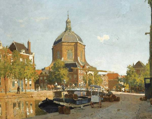 Wall Art - Painting - Cornelis Vreedenburgh 1880 - 1946   Figures On A Canal Near The Marekerk, Leiden by Celestial Images