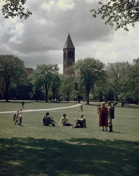 Shadow Photograph - Cornell Campus by Slim Aarons