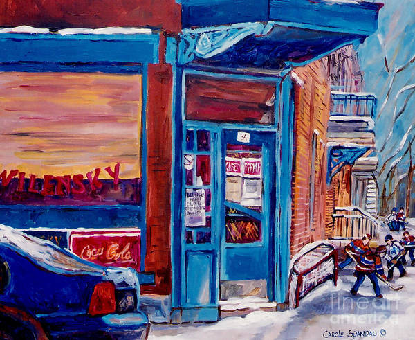 Painting - Corner Cafe Clark And Fairmount Wilensky's Winter Scene Habs Hockey Art C Spandau Quebec Artist by Carole Spandau