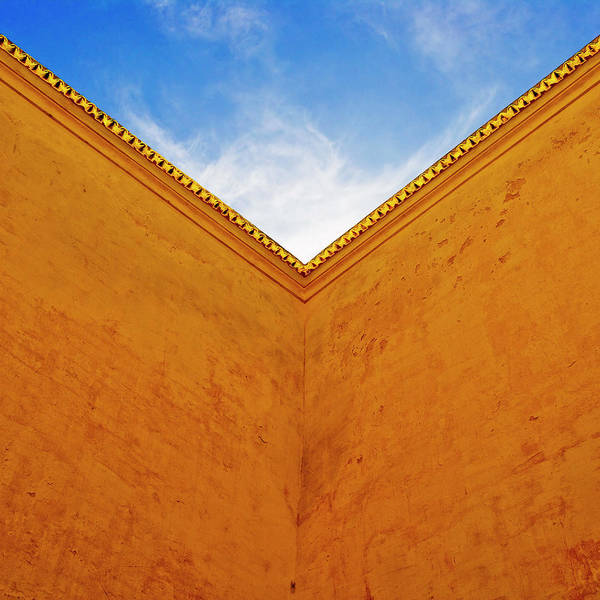 Surroundings Photograph - Corner Of Courtyard With Blue Sky, Low by Jed Share