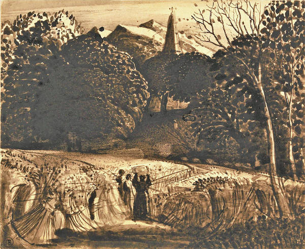 Wall Art - Painting - Cornfield And Church By Moonlight - Digital Remastered Edition by Samuel Palmer