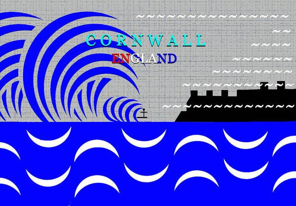 Wall Art - Digital Art - Cornwall England Surfing Art by David Lee Thompson