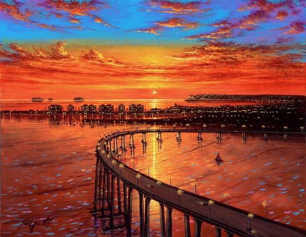 Wall Art - Painting - Coronado Panorama 2 Acrylic by John YATO