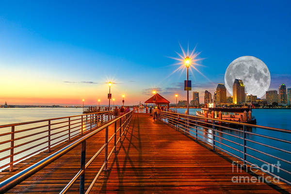Photograph - Coronado Pier With Full Moon by Benny Marty