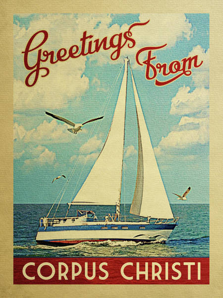 Seagull Digital Art - Corpus Christi Sailboat Vintage Travel by Flo Karp