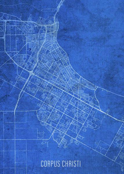 Wall Art - Mixed Media - Corpus Christi Texas City Street Map Blueprints by Design Turnpike