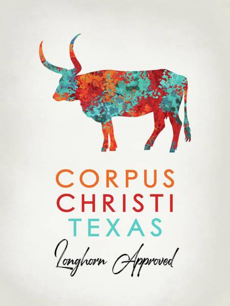 Longhorn Digital Art - Corpus Christi Texas Colorful Longhorn by Flo Karp