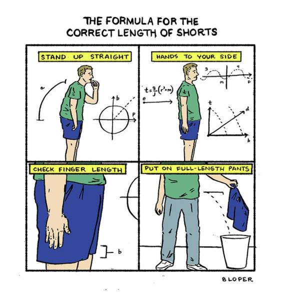 Drawing - Correct Length Of Shorts by Brendan Loper