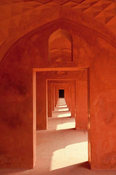 Taj Mahal Photograph - Corridor Of Red Sandstone In Buildings by Ian Cumming
