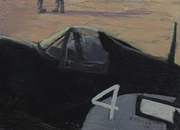 Corsair Painting - Corsair Cockpit by Bill Tomsa