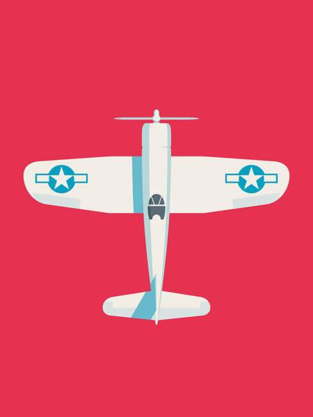 Ww2 Digital Art - Corsair Fighter Aircraft - Crimson by Ivan Krpan