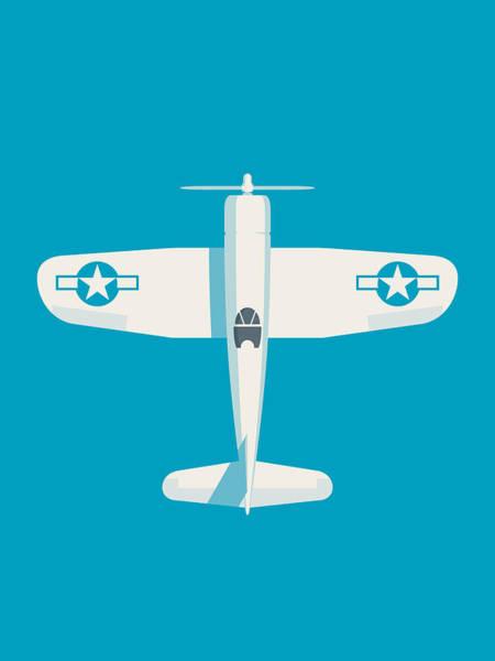 Ww2 Digital Art - Corsair Fighter Aircraft - Cyan by Ivan Krpan