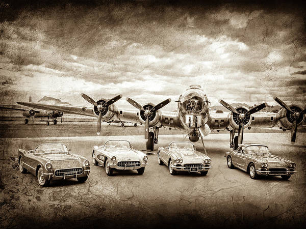 Wall Art - Photograph - Corvettes And B17 Bomber -0027cl2 by Jill Reger