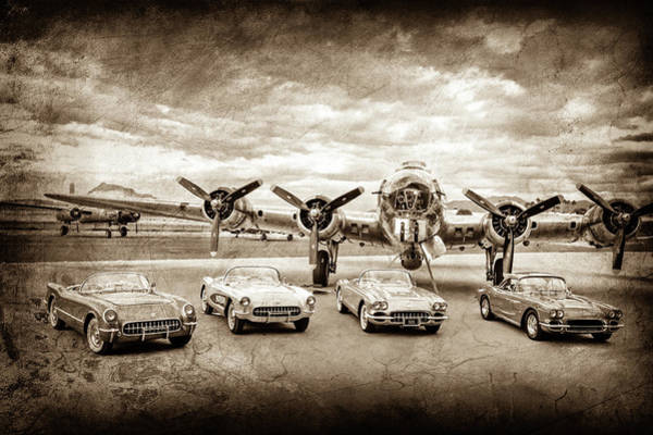 Wall Art - Photograph - Corvettes And B17 Bomber -0027s by Jill Reger