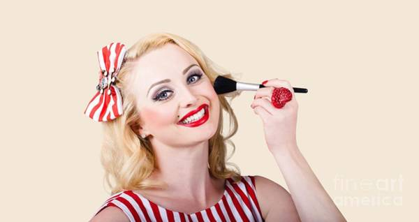 Photograph - Cosmetics Pin-up Model Applying Blusher Makeup by Jorgo Photography - Wall Art Gallery