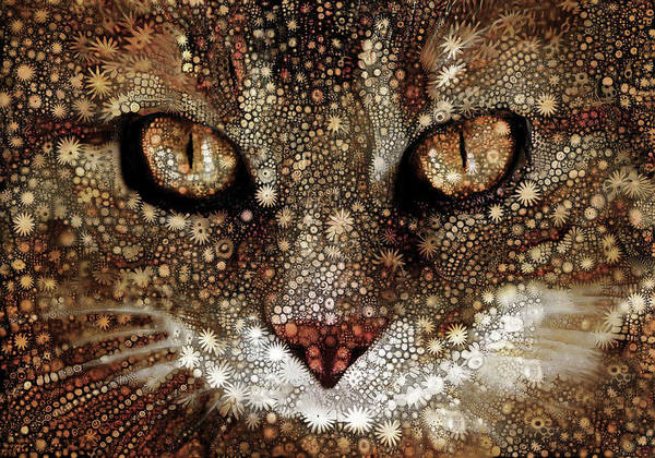 Digital Art - Cosmic Cat In Gold by Peggy Collins