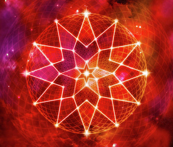 Lotus Seed Wall Art - Digital Art - Cosmic Geometric Seed Of Life Crystal Red Lotus Star Mandala by Laura Ostrowski