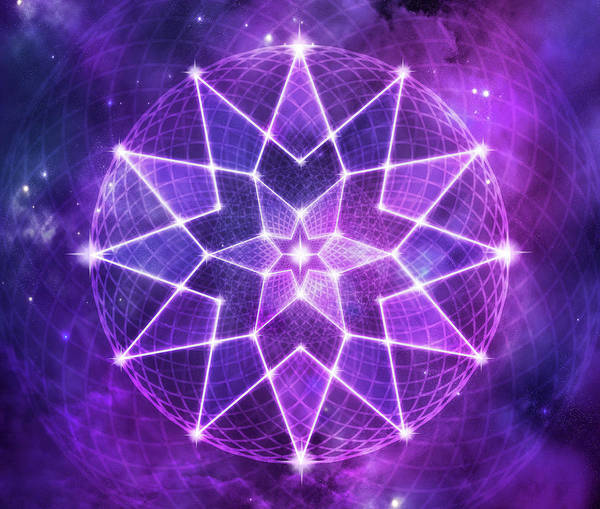 Lotus Seed Wall Art - Digital Art - Cosmic Purple Geometric Seed Of Life Crystal Lotus Star Mandala by Laura Ostrowski