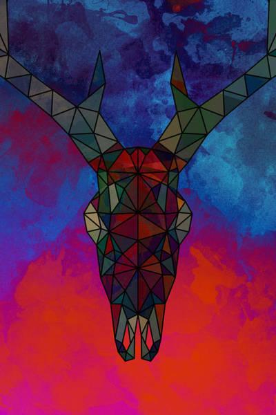 Deer Skull Digital Art - Cosmic Skull Deer Modern Art Illustration by Dim Dom