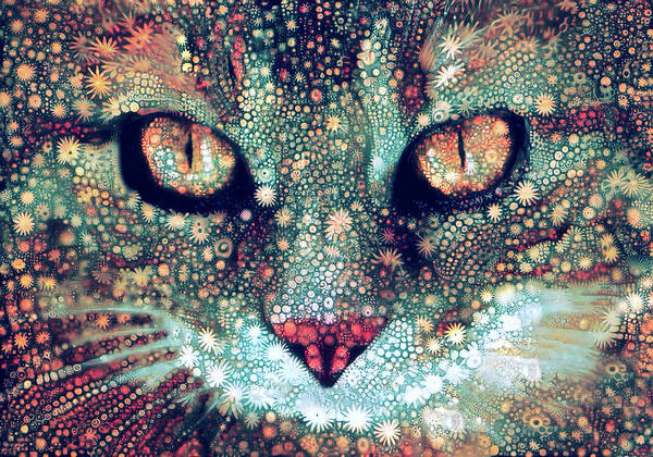Digital Art - Cosmic Tabby Cat by Peggy Collins