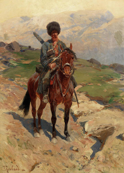 Russian River Painting - Cossack Horseman by Frantz Alekseevich Roubaud