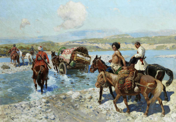 Russian River Painting - Cossacks by Franz Roubaud