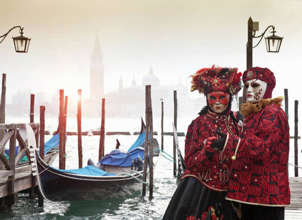 Costumed Figures At Venice Carnival Art Print