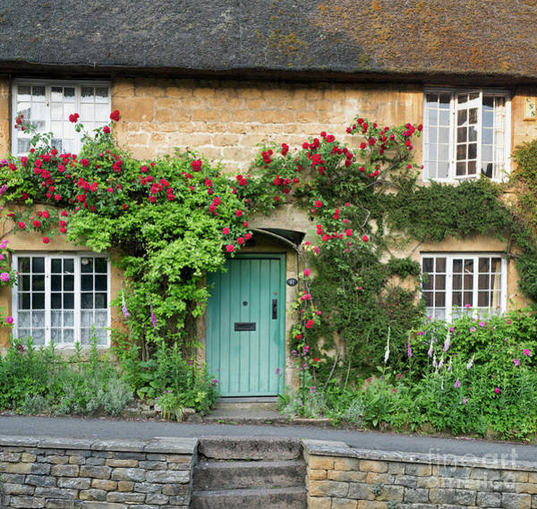 Wall Art - Photograph - Cotswold Cottage With Red Roses by Tim Gainey