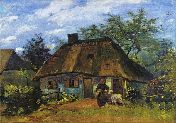 Wall Art - Painting - Cottage And Woman With Goat, Farmhouse In Nuenen - Digital Remastered Edition by Vincent van Gogh