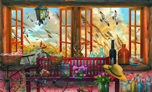Digital Art - Cottage At The Beach Watercolor Painting by Debra and Dave Vanderlaan