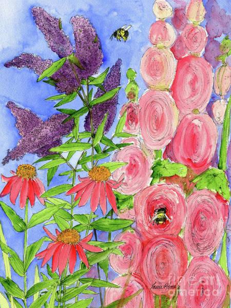 Cottage Garden Hollyhock Bees Blue Skie Art Print