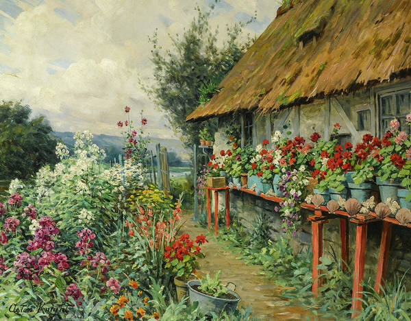Wall Art - Painting - Cottage Garden In Bloom by Louis Aston Knight