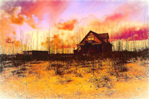 Photograph - Cottage On The Dunes Painting by Debra and Dave Vanderlaan