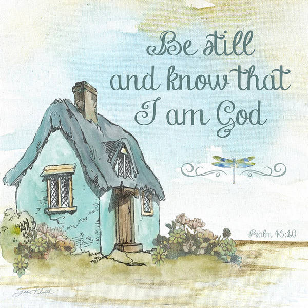 Wall Art - Painting - Cottage With Psalm by Jean Plout