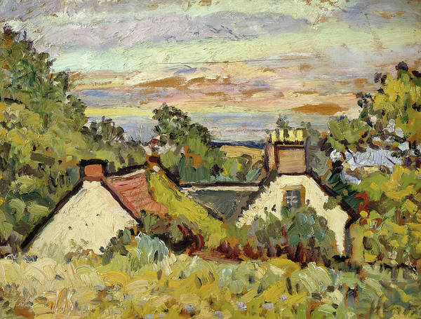 Fife Painting - Cottages, Fife, 1924 by Leslie Hunter