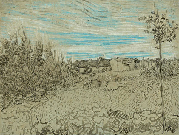 Wall Art - Drawing - Cottages With A Woman Working In The Middle Ground by Vincent van Gogh