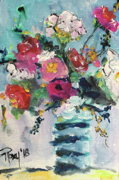 Still Life Painting - Cotton And Roses by Roxy Rich