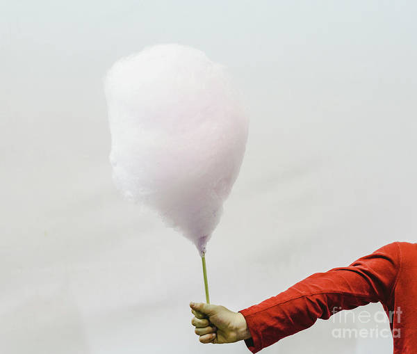 Photograph - Cotton Candy Held By The Hand Of A Child, Isolated On White Background. by Joaquin Corbalan