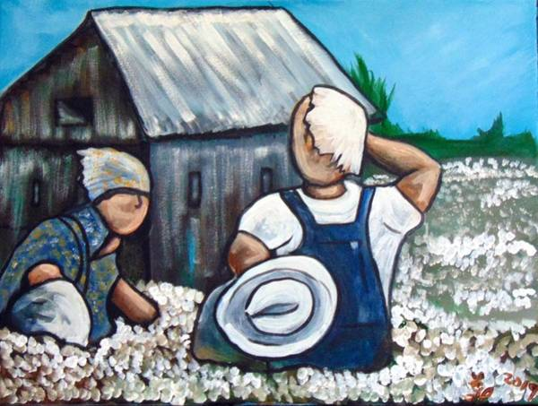 Painting - Cotton Pickers by Loretta Nash