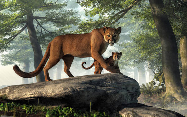 Digital Art - Cougar And Cub by Daniel Eskridge