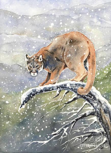Wall Art - Painting - Cougar by Zaira Dzhaubaeva