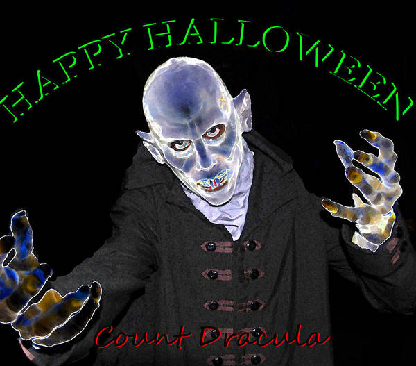 Wall Art - Painting - Count Dracula Halloween Card by David Lee Thompson